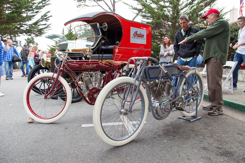 Vintage Indian and Harley-Davidson motorbikes