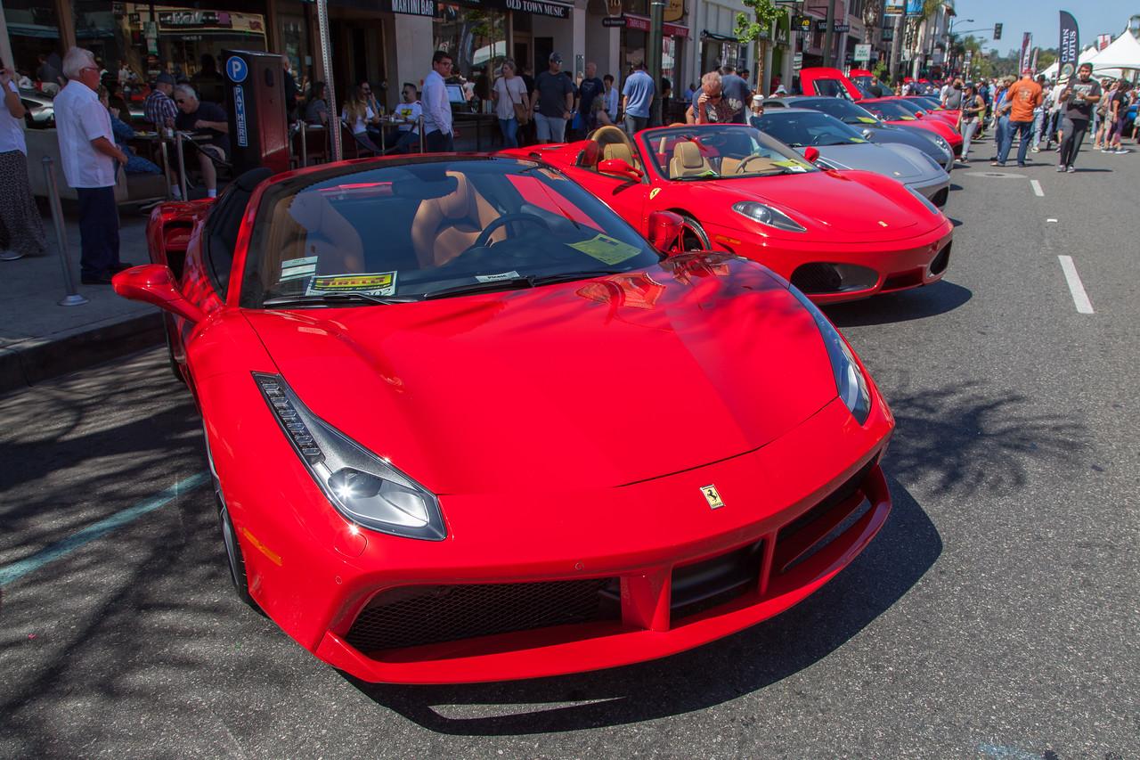 2018 Ferrari 488 heads the row of Ferraris on Colorado Blvd.