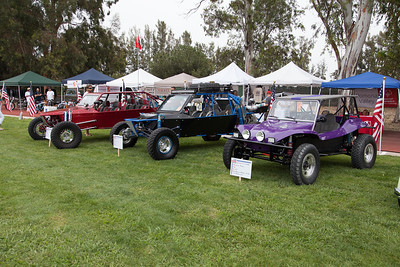 (L-R) 2007 Sand Buggy, 2006 Tatum 4 seat buggy, 1967 Glass Bunny,