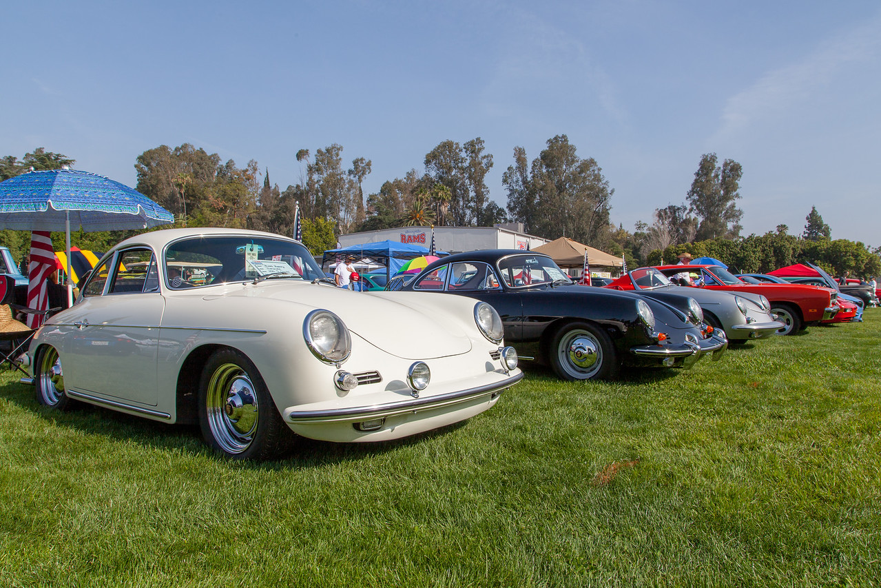 (L-R) 1963 Porsche 356 S Coupe, 1962 Porsche 356B Coupe, 1961 Porsche Roadster