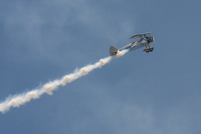 Steve McQueen's  Boeing Stearman Model 75 biplane was flown over the car show.