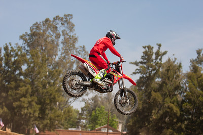 Motocross riders put on an impressive display of jumping on the temporary dirt track that was created for the event.