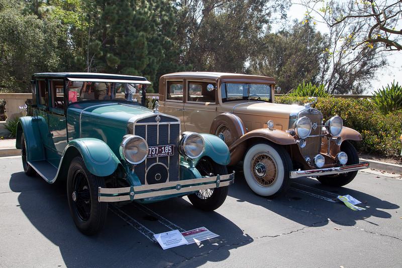(L-R) Robert Webb's 1927 Franklin Series 11B and C. Joel Shapiro's 1931 Cadillac 355