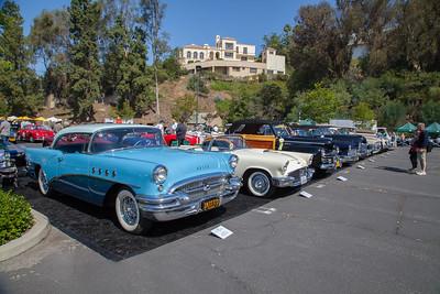 Post-War American cars on display
