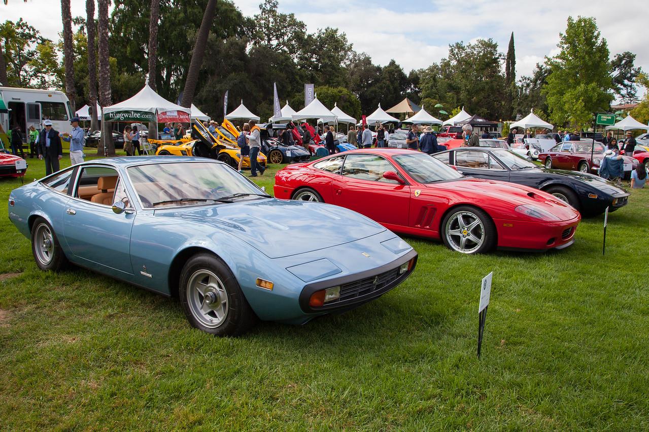 (L-R) 1972 Ferrari 365 GTC/4, Ferrari 550 M, 1971 Ferrari 365 GTC/4