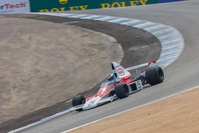 Mika Häkkinen hustles the McLaren M23 down the Corkscrew