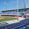Date:  07/22/09<br /> Location:  Sarasota, FL<br /> looking south east at the lower level seats behind home plate and the home (right) and visiting (left) dugouts