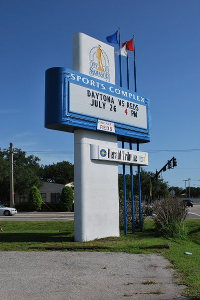 Date:  07/22/09<br /> Location:  Sarasota, FL<br /> These were shot on the date it was announced that the Orioles would be moving to Sarasota from Ft Lauderdale.  Taken on the corner of 12th St and N Tuttle Ave looking north, this is the main marque sign for the facility