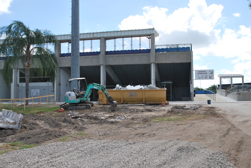 Date:  6/23/10<br /> Location:  Ed Smith Stadium, Sarasota, FL<br /> Most of the work so far is visible from the front of the stadium area as the vendor areas, bathrooms, and offices have been gutted along the 1st base side of the stadium