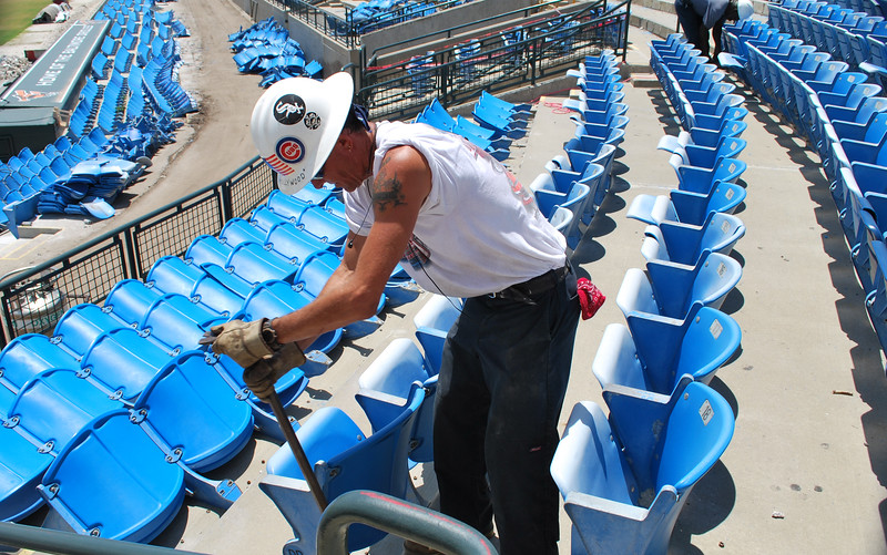 Date:  8/16/10<br /> Location:  Ed Smith Stadium, Sarasota, FL<br /> Workers continue to remove the seats section by section