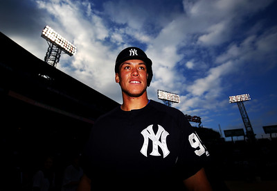Aaron Judge #99 of the New York Yankees smiles before a game against the Boston Red Sox at Fenway Park on April 27, 2017 in Boston, Massachusetts.