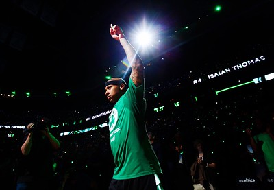 Isaiah Thomas #4 of the Boston Celtics is introduced prior to Game One of the 2017 NBA Eastern Conference Finals against the Cleveland Cavaliers at TD Garden on May 17, 2017 in Boston, Massachusetts.