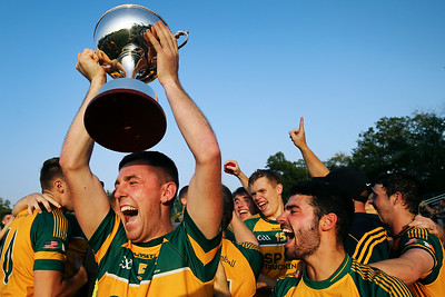 Members of the Donegal Boston Gaelic Football Club react after defeating Wolfe Tones GFC during the Boston GAA Men's Senior Football Championship at the Irish Cultural Centre in Canton, Massachusetts on August 8, 2018.