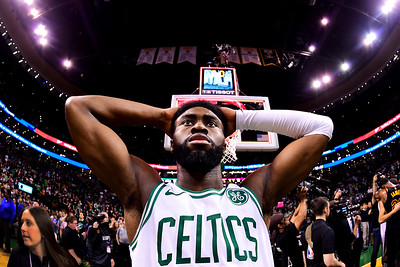Jaylen Brown #7 of the Boston Celtics reacts after being defeated by the Cleveland Cavaliers 87-79 in Game Seven of the 2018 NBA Eastern Conference Finals at TD Garden on May 27, 2018 in Boston, Massachusetts. (Photo by Adam Glanzman/Getty Images)