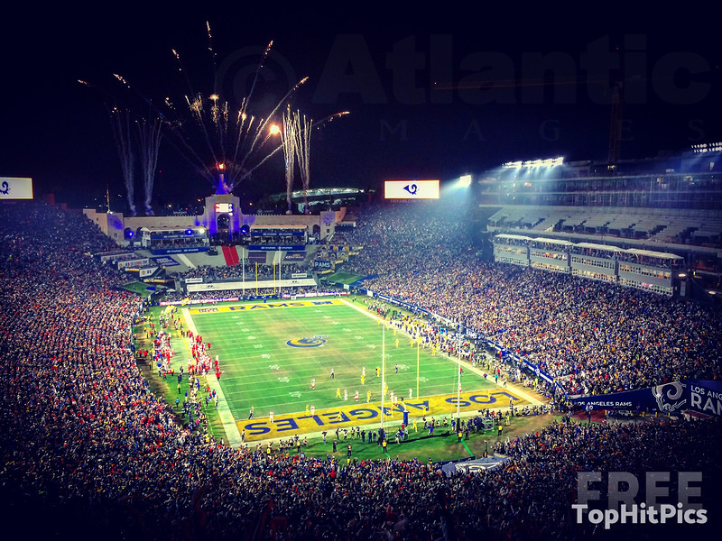 The LA Rams Vs Kansas City Chiefs on Monday Night Football at the LA Memorial Coliseum