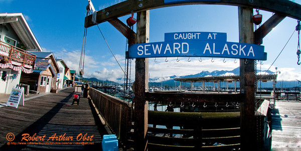 Hiker's and fisherman's view of beautiful Seward Harbor and its fishing facilities from the Seward Harbor dock on Resurrection Bay within Seward and the Kenai Peninsula (USA Alaska Seward)