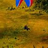 Hiker's view of colorful tandem para-sailors over Mount Alyeska near the Alyeska Resort (USA Alaska Girdwood)