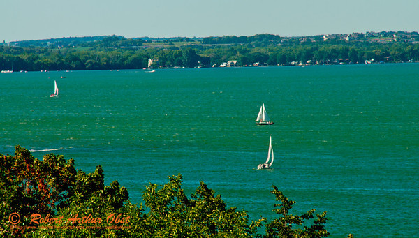 A perfect day for sailing on Lake Mendota near Observatory Drive and the University of Wisconsin Madison campus (USA WI Madison)