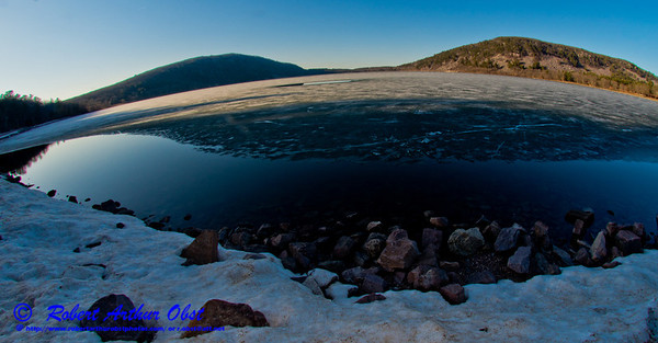 Long winter and a late spring in Wisconsin - Hiker's view of snow banks and blue skies embracing the south shore of ice covered Devils Lake during mid-April within Devils Lake State Park (USA WI Baraboo; Obst FAV Photos 2013 Nikon D800 Sports Fun Extraordinaire Image 8833)