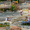 Photo collage of World Championships Silver Medalists Canoe Solo Men Team Juniors Samuel IBBOTSON and Thomas ABBOTT and Andrew HOUSTON of Great Britain during the finals of the 2012 ICF Canoe Slalom Junior and U23 World Championships (USA WI Wausau)