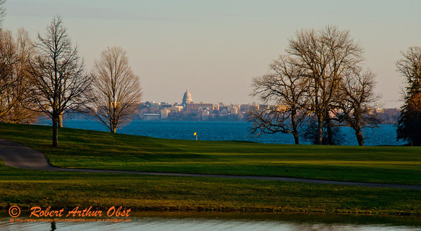 Golfer's and walker's view across the Bishops Bay golf greens and Lake Mendota to the state of Wisconsin capital of Madison (USA WI Middleton; RAO 2012 Nikon D800 Image 6760.2)