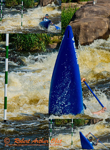Photo collage of solo canoe men under 23 Patrik GAJARSKY of Slovakia recovering after nearly back-endering his canoe upon approach to gate 10 during the finals of the 2012 ICF Canoe Slalom Junior and U23 World Championships (USA WI Wausau)