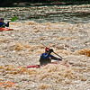 Kayakers at the start of the second pitch of one mile long Boy Scout Rapids with snow of the river banks at high flow or 1400 frigid CFS or about 25 inches on Section 3 of the wild Wolf River within Langlade County (USA WI White Lake; Obst FAV Photos 2013 Nikon D300s Sports Fun Extraordinaire Image 5195)