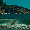 Youth swimmer crashing through refreshing Lake Superior waves under blue skies on Horseshoe Bay (Canada ON Heron Bay)