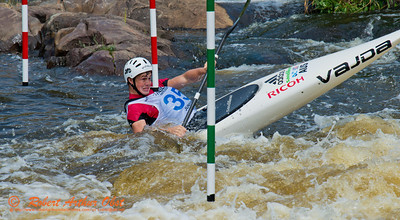 Kayak men Junior Daniel WATKINS of Australia negotiating gate 9 during the finals of the 2012 ICF Canoe Slalom Junior and U23 World Championships (USA WI Wausau)