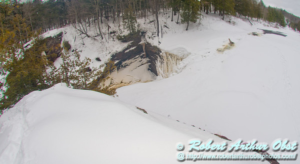 Back country skier's and snowshoer's view during winter of a frozen Rainbow Falls and the canyon above on the National Wild and Scenic Black River within the Black River Recreation Area of the Ottawa National Forest (USA MI Bessemer; Obst FAV Photos 2013 Nikon D800 Sports Fun Extraordinaire Action Outdoors Image 8156)