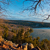 Hiker's view from Balanced Rock Trail of late day sun highlighting south shores of ice covered Devil's Lake and the radiant bluffs and foliage within Devils Lake State Park (USA WI Baraboo; Obst FAV Photos 2013 Nikon D800 ports Fun Extraordinaire Image 8879)