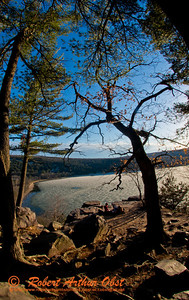 Happy hikers' and picnickers' view from Balanced Rock Trail of late day sun highlighting ice covered Devil's Lake and the radiant bluffs and foliage within Devils Lake State Park (USA WI Baraboo; Obst FAV Photos 2013 Nikon D800 ports Fun Extraordinaire Image 8855)