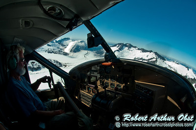 Wings Airways pilot's blue sky view of snowy mountains and curving rivers of ice from over the top of twelve miles long Mendenhall Glacier within Tongass National Forest (USA Alaska Juneau)