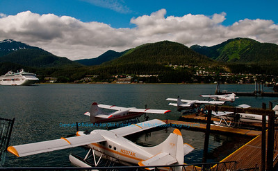 Float Planes at the Hanger on the Wharf by the Wings Airways office on the Gastineau Channel of the Pacific Ocean at the Port of Juneau (USA Alaska Juneau)