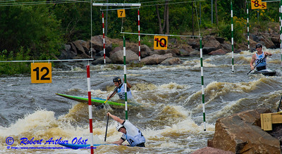 Canoe Solo Men Team Juniors Zachary LOKKEN and Jordan POFFENBERGER and Andre SANBORN of the USA negotiating gates 8 through 10 during the finals of the 2012 ICF Canoe Slalom Junior and U23 World Championships (USA WI Wausau)
