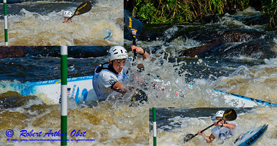 Photo collage of  'Kayak Men Under 23' Michal SMOLEN of the USA positioning for gate 10 during the finals of the 2012 ICF Canoe Slalom Junior and U23 World Championships (USA WI Wausau)