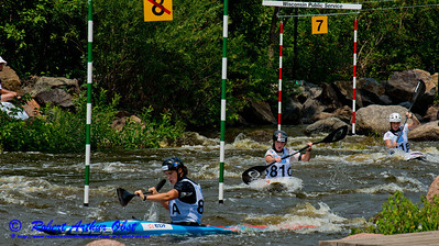 World Championships Bronze Medalists Kayak team women under 23 81A Lucie BAUDU and 81B Estelle MANGIN and 81C Nouria NEWMAN of France negotiating gates 7 and 8 during the finals of the 2012 ICF Canoe Slalom Junior and U23 World Championships (USA WI Wausau; RAO 2012 Nikon D800 Image 4561)