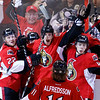 The Ottawa Senators Erik Condra, left, Colin Greening, center, Jean-Gabriel Pageau, right, and Daniel Alfredsson celebrate after Greening scores the winning goal against the Pittsburgh Penguins during the second overtime period of game four of their Stanley Cup Eastern Conference semi-final NHL hockey game at Scotiabank Place in Ottawa on Sunday, May 19, 2013. THE CANADIAN PRESS/ Patrick Doyle