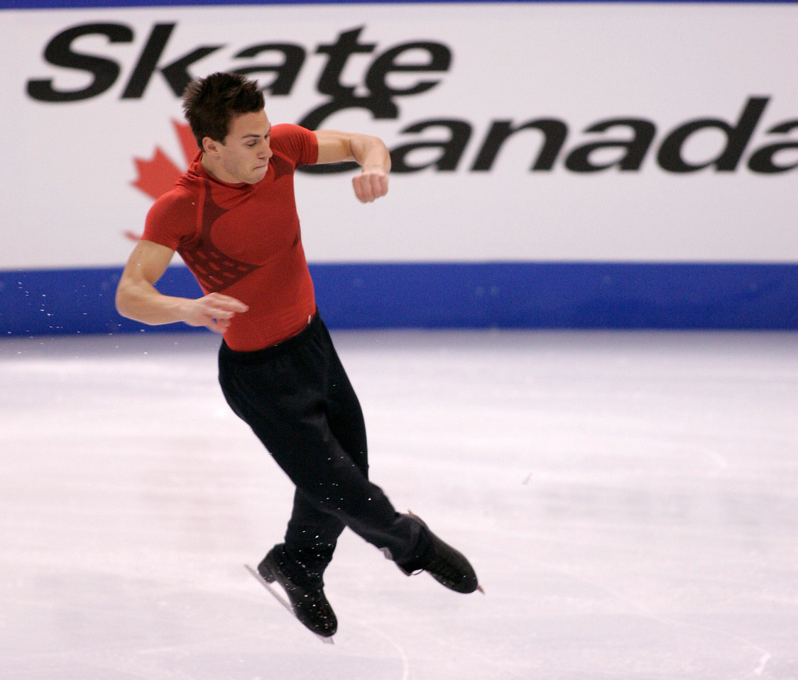 Canadian skater Shawn Sawyer at the practice skate for the 2008 HomeSense Skate Canada International in Ottawa on Thursday, October 30, 2008 at Scotiabank Place. Photo by Patrick Doyle.