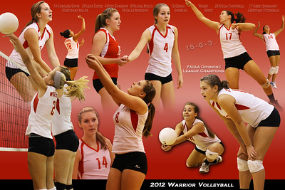 A poster of the 2012 Susquehannock girls volleyball varsity team which won it's league title in division I. (Horizontal version)