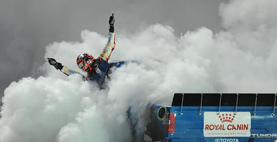 Busch hangs out during burn out