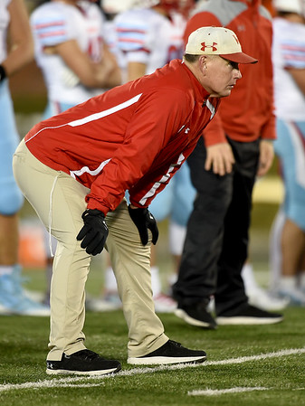 Webb City coach John Roderique watches from the sidelines during the Cardinals Class 4 championship game in Columbia.<br /> Globe | Laurie Sisk