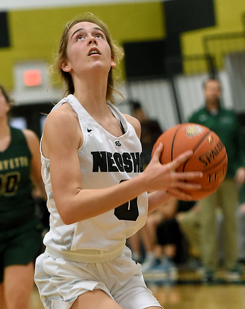 Neosho's Baylie Bowers breaks free for a transition bucket during the Wildcats' first round game against St. Joseph Lafayette in the Neosho Holiday Classic on Thursday at Neosho Junior High School.<br /> Globe | Laurie Sisk