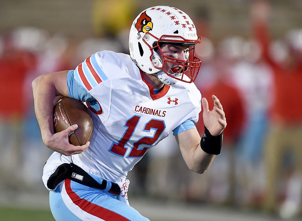 Webb City's Cade Hicks (12) sprints into the endzone for the Cardinals first score during their Class 4 Championship game aganst Platte County on Friday night at Columbia. <br /> Globe | Laurie SIsk