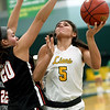 Missouri Southern's Layne Skiles (5) battles Central Mssouri's Megan Skaggs (20) during their game on Wednesday night at Leggett & Platt.<br /> Globe | Laurie SIsk