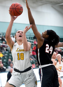 Missouri Southern's Zoe Campbell (10) tries to score over Central Missouri's Nija Collier (24) during their game on Wednesday night at Leggett & Platt. Globe   Laurie SIsk