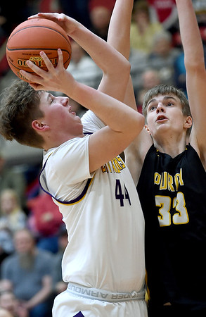 Thomas Jefferson's Jay Ball (44) drives to the basket as Purdy's Scotty Henry (33) defends during their Class 2 District 12 championship game on Friday night at Webb City High School. Globe   Laurie Sisk
