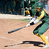 Missouri Southern's Emilee Meyer advances the runners with a sacrifice bunt during the Lions' game against Missouri Western in the 15th Annual Teri Mathis Zenner Memorial Classic on Friday afternoon at Pat Lipira Field.<br /> Globe | Laurie Sisk