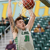Missouri Southern's Cam Martin (31) buries the ball in the net during the Lions game against Central Missouri on Wednesday night at Leggett & Platt.<br /> Globe | Laurie SIsk