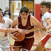 Joplin's Will Rader (3) tries to split Carl Junction defenders Isaac Hoberecht (2) and Trentyn Lehman (13) for a score during their game on Tuesday night at CJHS.<br /> Globe   Laurie Sisk